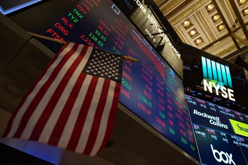 The numbers are displayed after the closing bell of the Dow Industrial Average at the New York Stock Exchange on Oct 10, 2018.