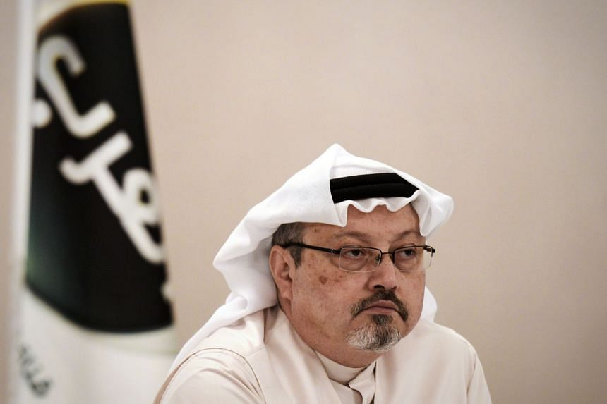 File photo of general manager of Alarab TV, Jamal Khashoggi, during a press conference in the Bahraini capital Manama, on Dec 15, 2014.