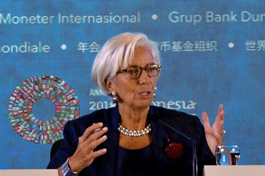International Monetary Fund chief Christine Lagarde answers a question during her press conference at the International Monetary Fund and World Bank annual meetings in Nusa Dua, Bali on Oct 11, 2018.