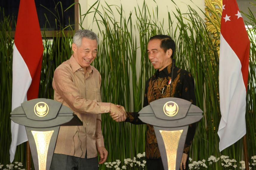 Prime Minister Lee Hsien Loong with Indonesian President Joko Widodo after their bilateral meeting in Bali, Indonesia, on Oct 11, 2018.
