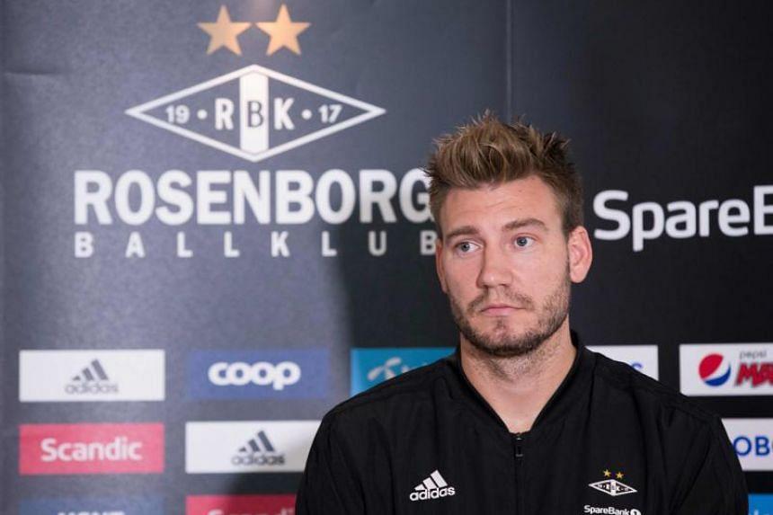 Rosenborg's Nicklas Bendtner gives a press conference in Trondheim, Norway, on Sept 11, 2018.