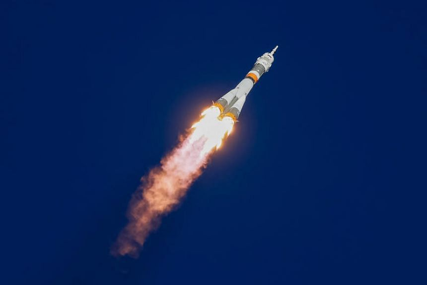 The Soyuz MS-10 spacecraft carrying astronaut Nick Hague from the US and cosmonaut Alexey Ovchinin from Russia blasting off to the International Space Station on Oct 11, 2018.