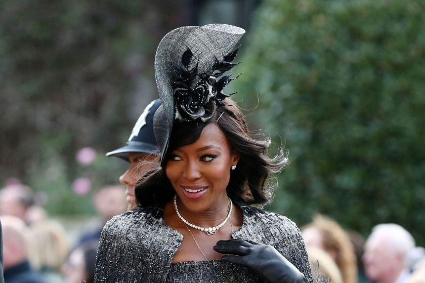 Naomi Campbell arrives at St George's Chapel for Princess Eugenie's wedding to Mr Jack Brooksbank.