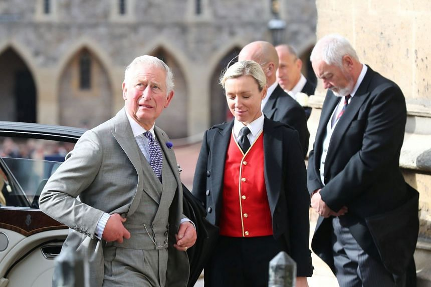 Britain's Prince Charles arrives at St George's Chapel for Princess Eugenie's wedding to Mr Jack Brooksbank.