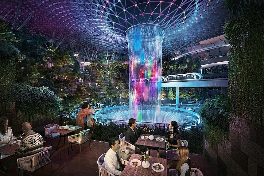 The $1.7 billion Jewel, which is expected to open next year, spans about 137,000 sq m, and is aimed at boosting Changi Airport's status as an air hub. The 10-storey development will feature attractions such as a 40m-high indoor waterfall and a five-s