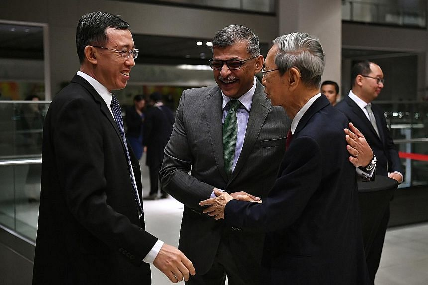 (From left) Judge of Appeal Andrew Phang, Chief Justice Sundaresh Menon and retired solicitor-general Koh Eng Tian before the start of the 25th lecture organised by the Singapore Academy of Law. Chief Justice Menon is the first Singaporean to deliver
