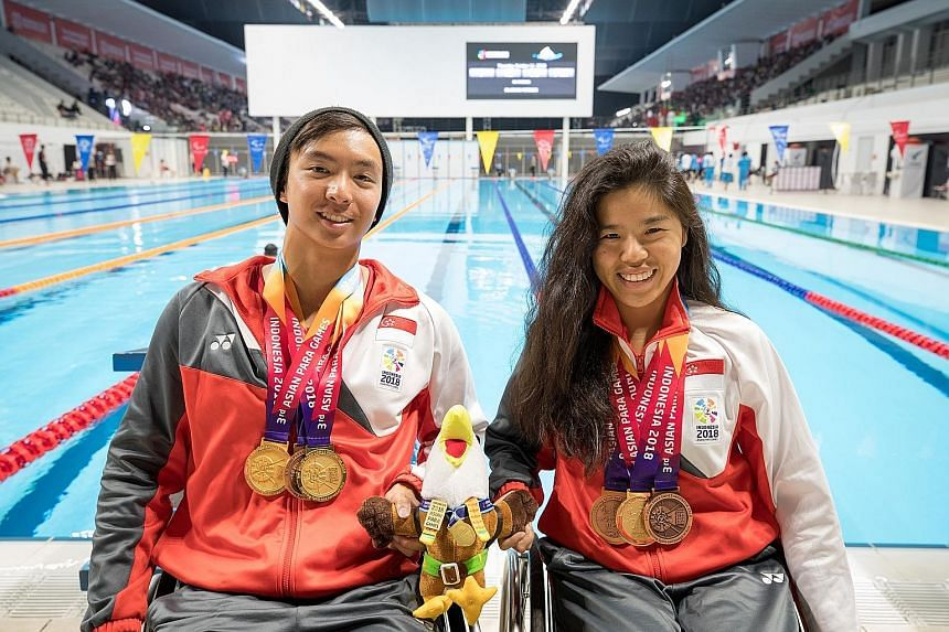 Singapore's Toh Wei Soong and Yip Pin Xiu have won three medals each at the 2018 Asian Para Games in Jakarta. Yip, 26, won her third yesterday with a bronze (1min 4.68sec) in the women's 50m freestyle S4 (1-4).