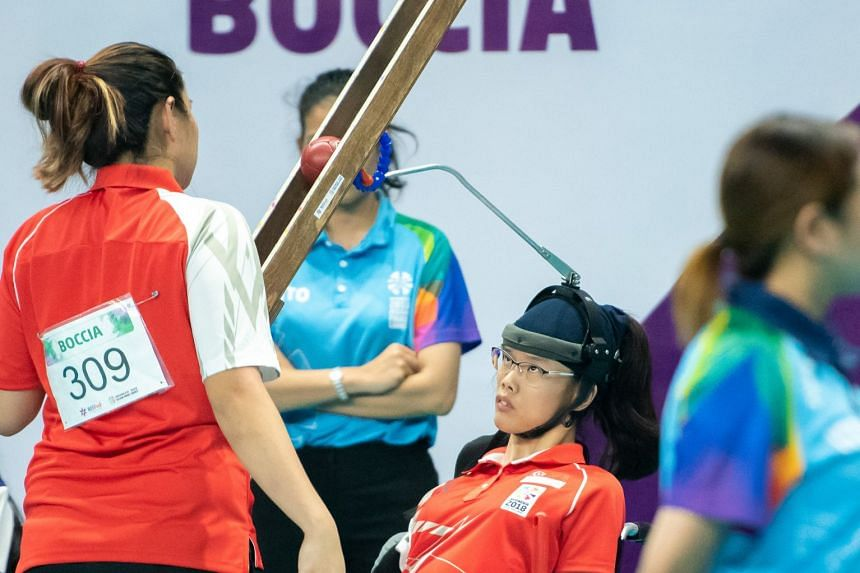 Boccia player Toh Sze Ning (above) won a silver medal in the mixed pair BC3 finals at the Asian Para Games on October 12, 2018, alongside partner Nurulasyiqah Taha and reserve Faye Lim. Singapore lost 4-2 to Hong Kong in the final.