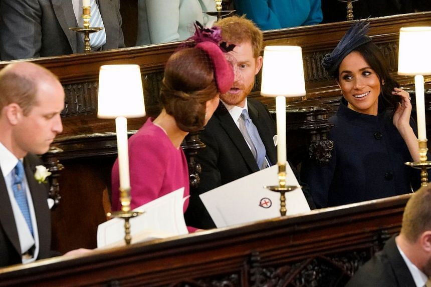 (From left) Britain's Prince William, his wife Kate, Prince Harry and his wife Meghan at St George's Chapel ahead of the wedding between Princess Eugenie and Mr Jack Brooksbank.