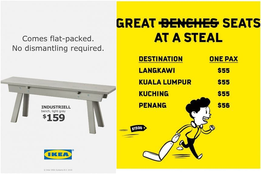 Furniture giant Ikea and budget airline Scoot took to Facebook to market their products, leveraging a recent incident of a man who got into trouble with the law for removing a bench at a bus stop.
