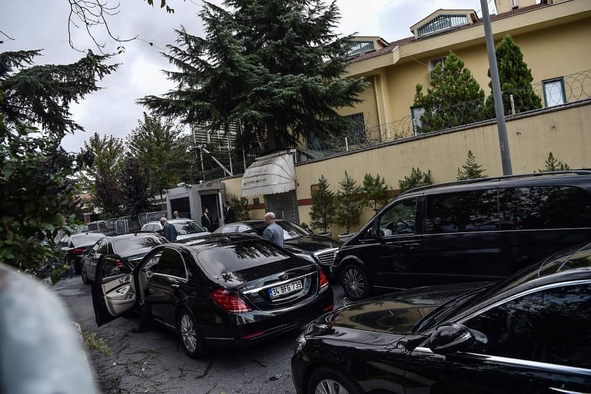 Diplomatic vehicles parked in front of the entrance of the Saudi Arabian consulate in Istanbul, on Oct 12, 2018.