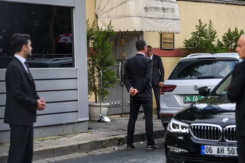 Security staff members guard the entrance of the Saudi Arabian consulate in Istanbul, on Oct 12, 2018.