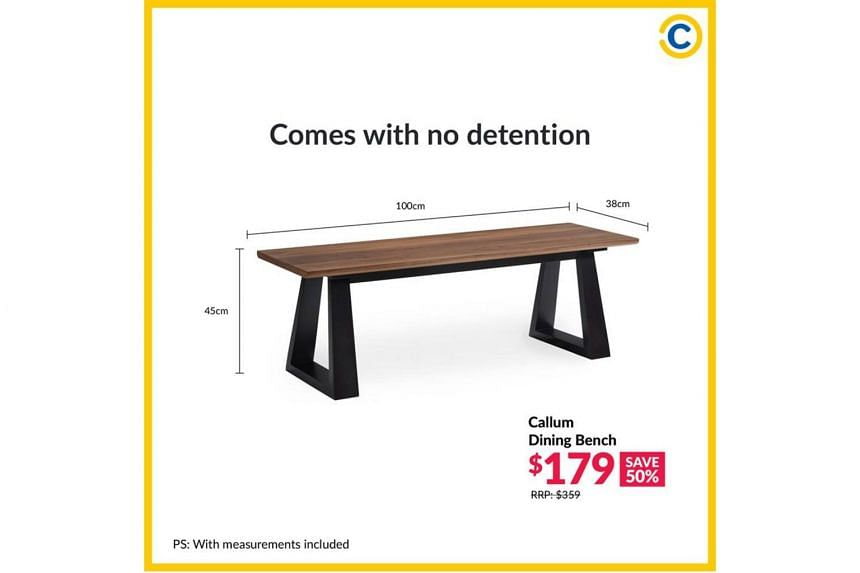 """Courts posted on Facebook an ad for a $179 Callum dining bench with the line """"Comes with no detention""""."""