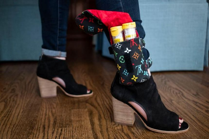 An allergy sufferer with EpiPens strapped to her ankle for emergencies - and as a way to signal her condition to others.