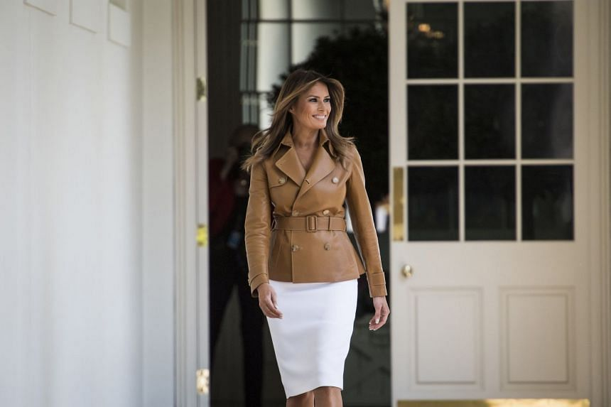 Melania Trump arriving to speak about her new Be Best programme at the White House in May 2018.