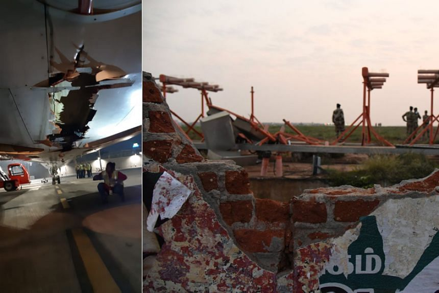 The Boeing 737 suffered the damage as it left Trichy in southern India bound for Dubai.