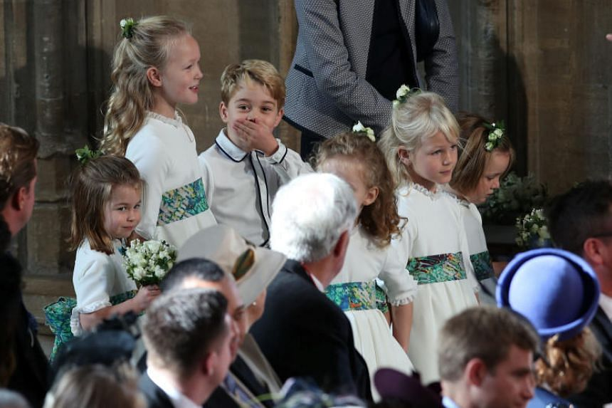 Bridesmaids and page boys, including Prince George and Princess Charlotte, at the wedding of Princess Eugenie to Mr Jack Brooksbank at St George's Chapel.