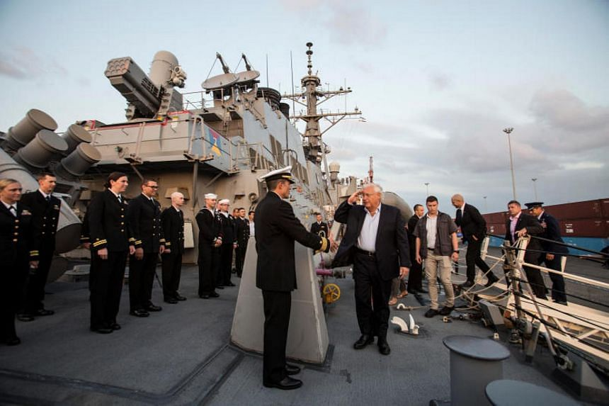 US Ambassador to Israel David Friedman tour USS Ross, during a ceremony marking the 243rd anniversary of the US Navy aboard the guided-missile destroyer, on Oct 11, 2018.