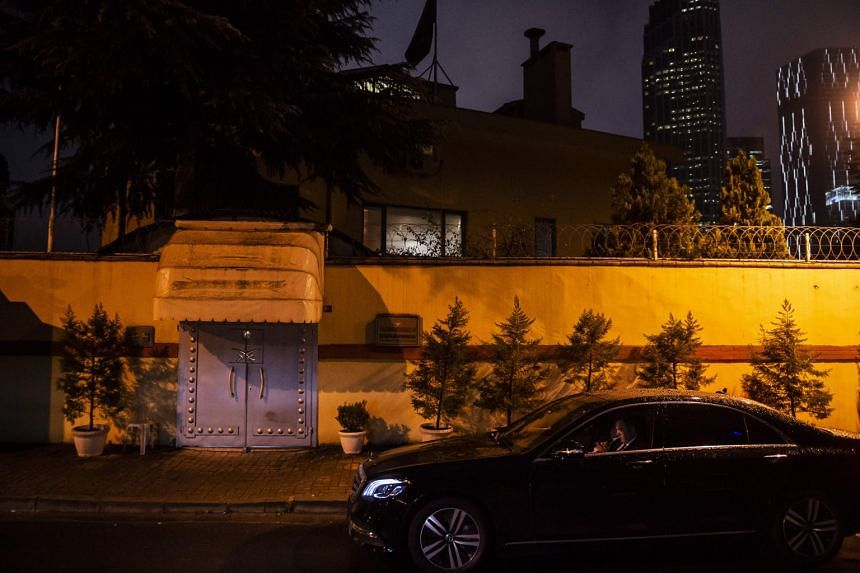 A security staff member guards the entrance of the Saudi Arabian consulate in Istanbul, on Oct 11, 2018.