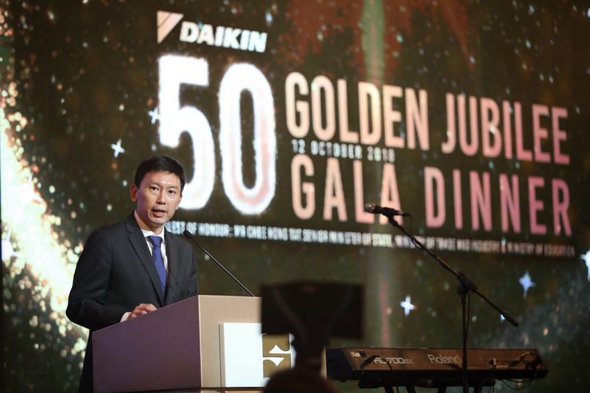 Senior Minister of State for Trade and Industry and Education Chee Hong Tat at Daikin Singapore's 50th anniversary gala dinner on Oct 12, 2018.