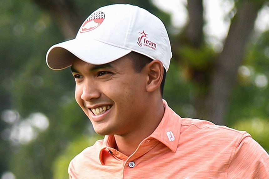Gregory Foo, who was part of the 2017 SEA Games winning team and Singapore national teammate Abdul Hadi (above), teed off in Karachi yesterday in their first professional challenge.