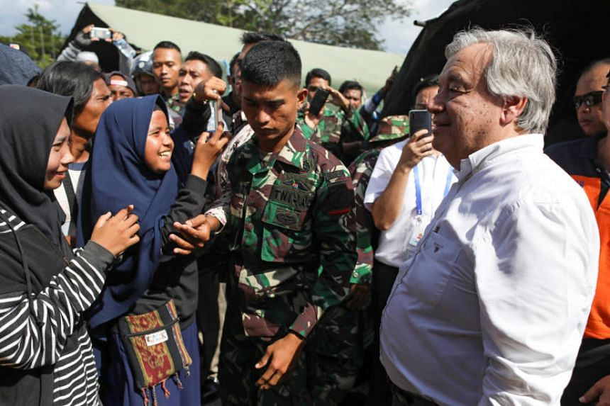 United Nations Secretary-General Antonio Guterres at a camp for people displaced by the earthquake in Palu, Indonesia, on Oct 12, 2018.
