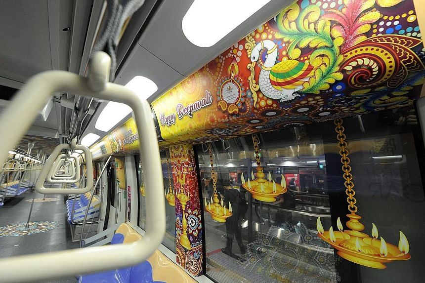 In line with this year's Deepavali celebrations, the Little India Shopkeepers and Heritage Association is collaborating with the Land Transport Authority (LTA) to introduce themed train cabins to generate awareness of the festive celebrations while a