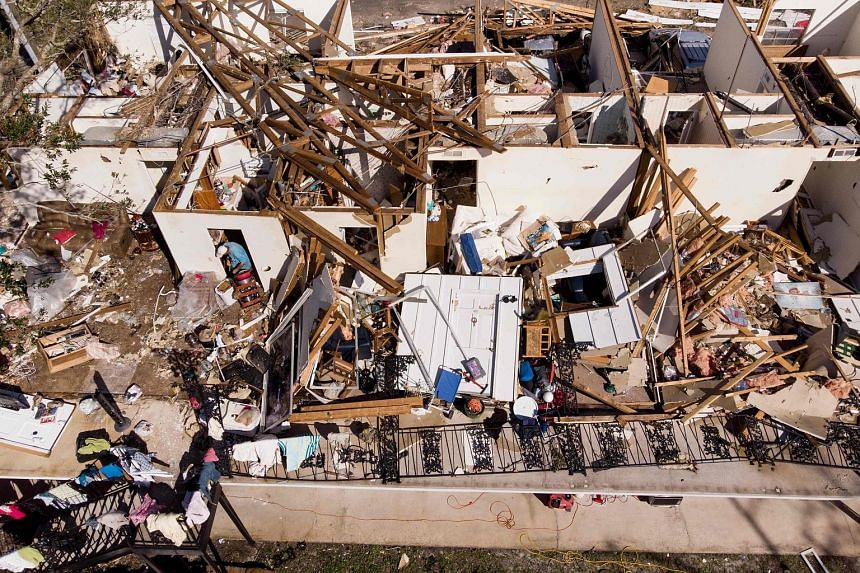 The remains of an apartment in the aftermath of Hurricane Michael in Panama City, Florida, on Thursday. Much of the coast of the Florida Panhandle, including Mexico Beach and Panama City, was left in ruins by the hurricane. The area is dotted with sm