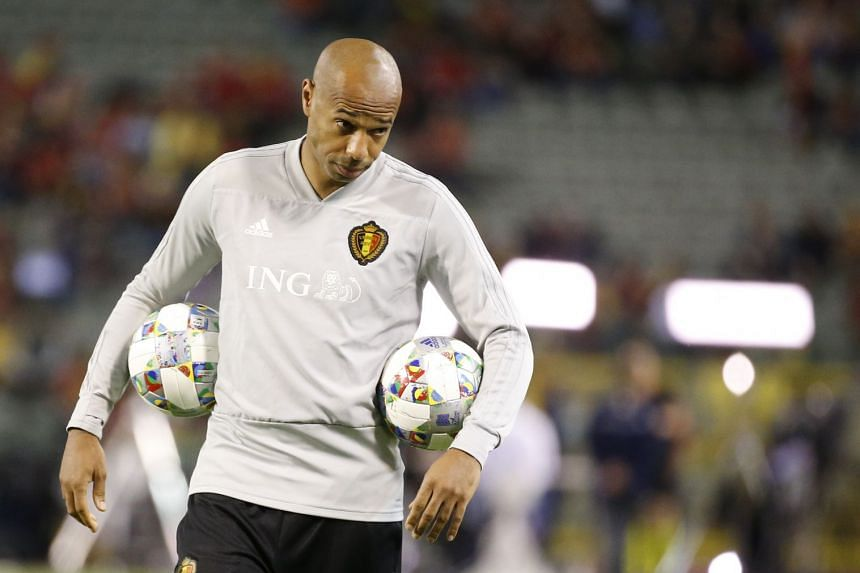 Belgium's assistant coach Thierry Henry during the Uefa Nations League match between Belgium and Switzerland at the King Baudouin Stadium in Brussels on Oct 12, 2018.