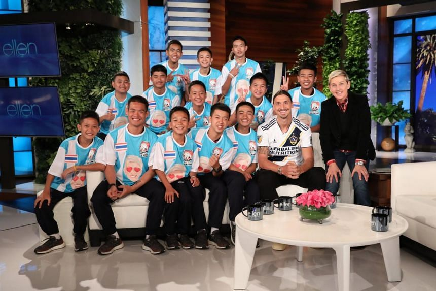 A picture accompanying the tweet shows host Ellen DeGeneres with all 13 from the team, as well as Swedish football star Zlatan Ibrahimovic beaming at the camera at the show's California studio.