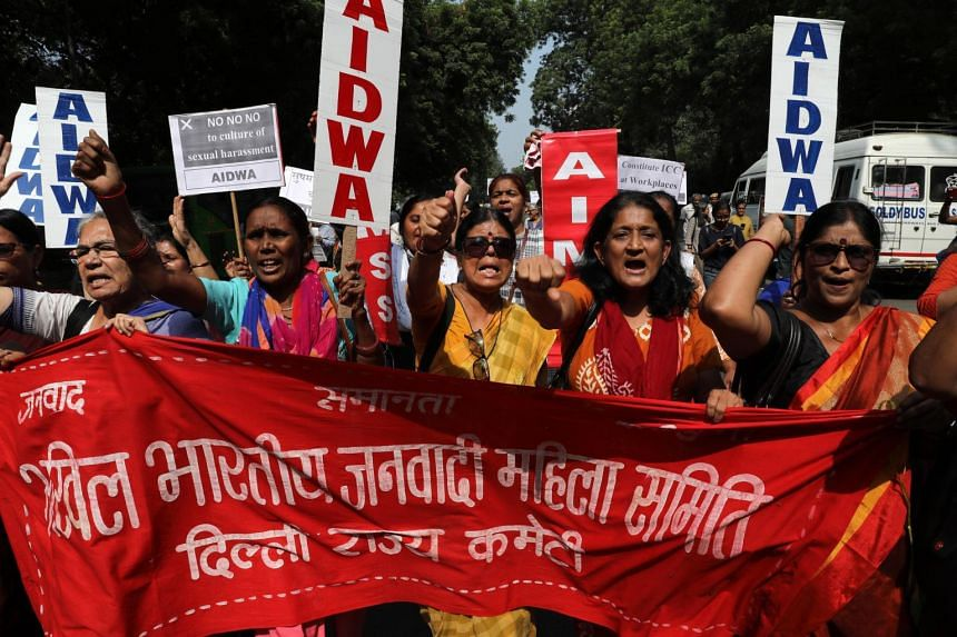 Activists from All India Democratic Women's Association protest against incidents of workplace sexual assault and harassment in New Delhi on Oct 12, 2018.