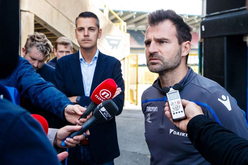 Club Brugge's head coach Ivan Leko talks to the press after a training session on Oct 12, 2018.