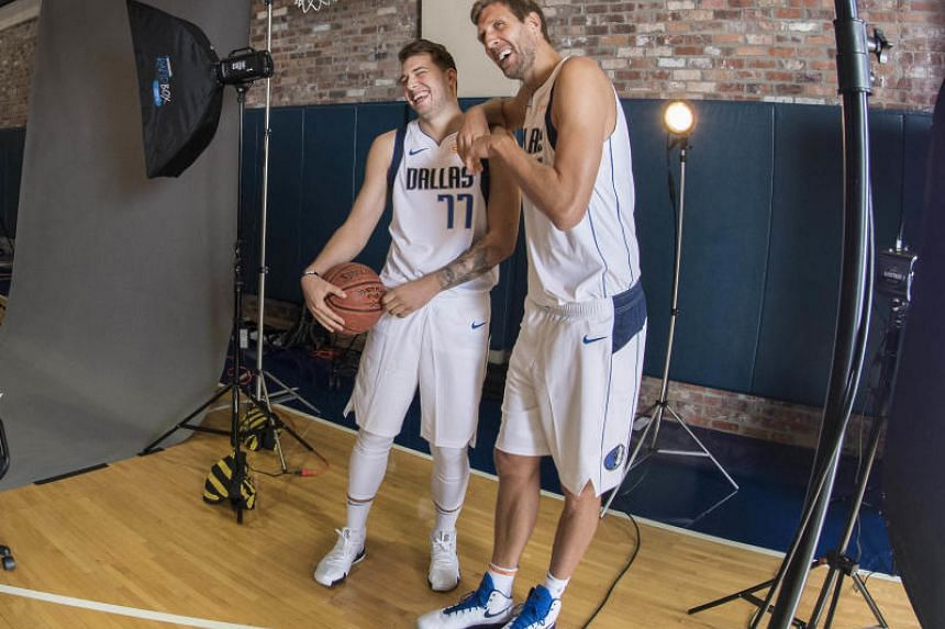 Many eyes will be upon Dallas Mavericks rookie Luka Doncic (left) during the 2018-19 NBA season. The 19-year-old Slovenian has drawn praise from Mavericks stalwart Dirk Nowitzki (right) for his playmaking skills.