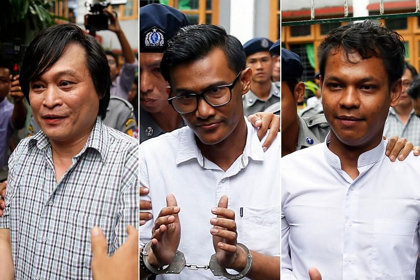 The Eleven Media Group's managing editor Nari Min, editor-in-chief Kyaw Zaw Linn and chief reporter Phyo Wai Win. All three were brought before a Yangon court and later remanded in custody.