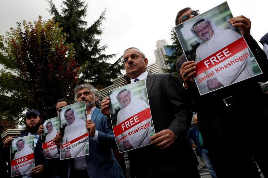 Human rights activists and friends of Saudi journalist Jamal Khashoggi holding a protest outside the Saudi Consulate in Istanbul, on Oct 8, 2018.