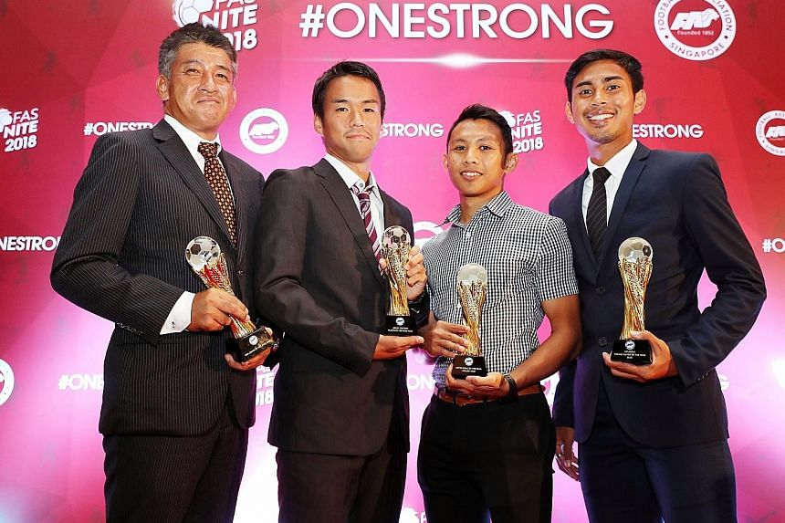 Albirex Niigata, who swept the three domestic titles including the Singapore Premier League crown, dominated last night's individual awards, with Kazuaki Yoshinaga (left) named Coach of the Year, Wataru Murofushi (second from left) the Player of the