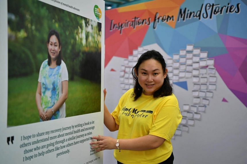 Ms Linda Chua, who was diagnosed with bipolar disorder, wants to help people overcome their own mental illness. She was one of the participants at the MindStories exhibition at Ang Mo Kio Central Stage on Sunday.