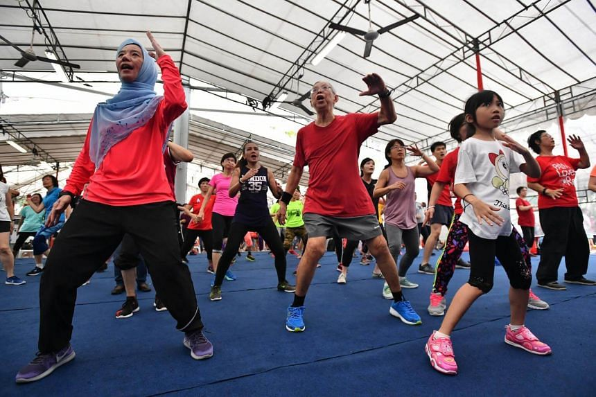 Residents of the Bishan-Toa Payoh GRC doing Kpop X Dance to keep fit.