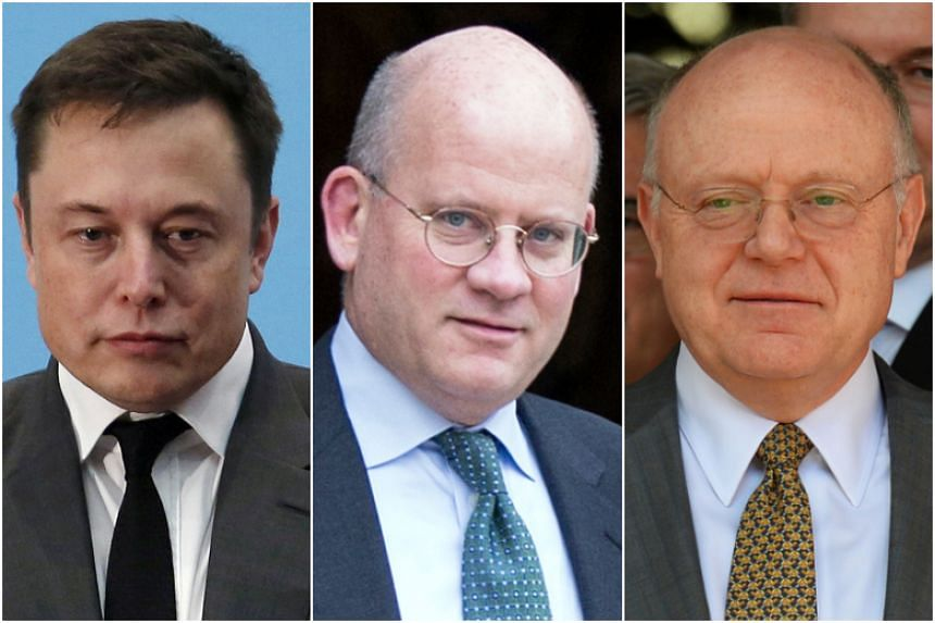 From left: Chief executive of Tesla Elon Musk, former General Electric chief executive John Flannery and former Pfizer chief executive Ian Read.