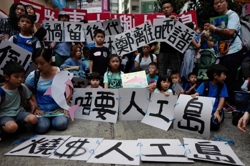 Children take part in an anti-reclamation demonstration in Hong Kong on Oct 14, 2018.