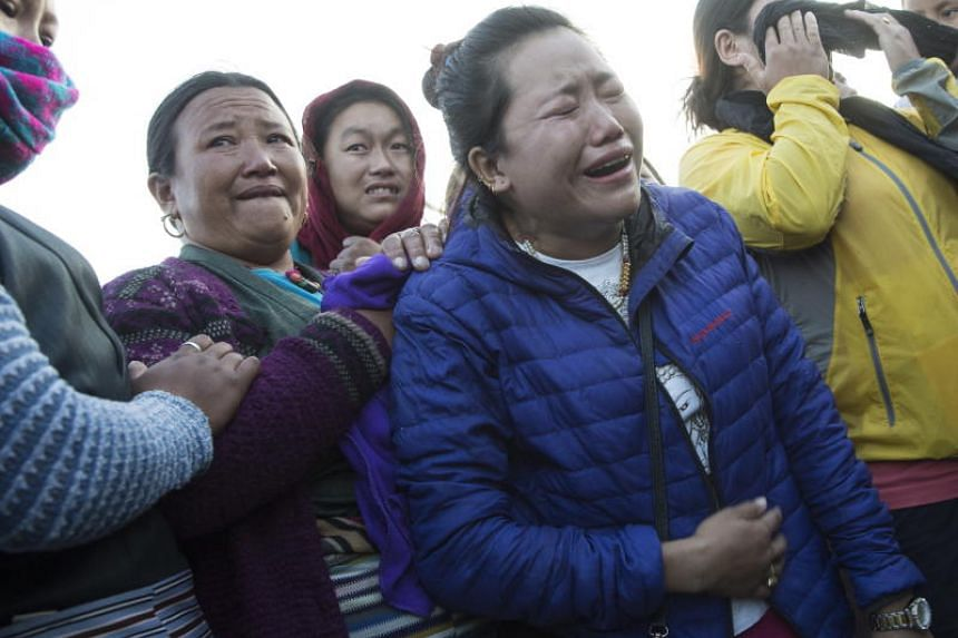 Relatives grieving after a five-member South Korean expedition team and four Nepali guides died due to snowstorm at the base camp of Mount Gurja.