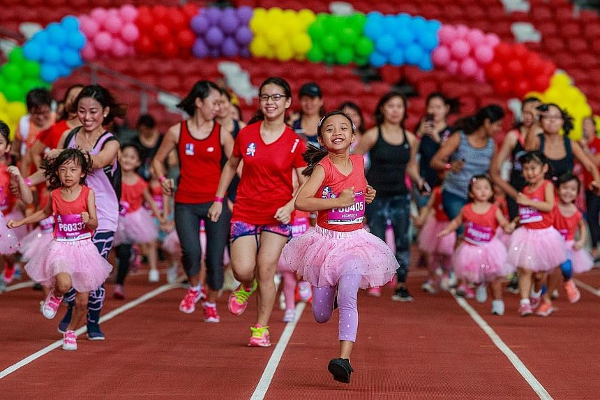 Participants in the 110m Princess Dash, which is for girls aged between three and six years old.