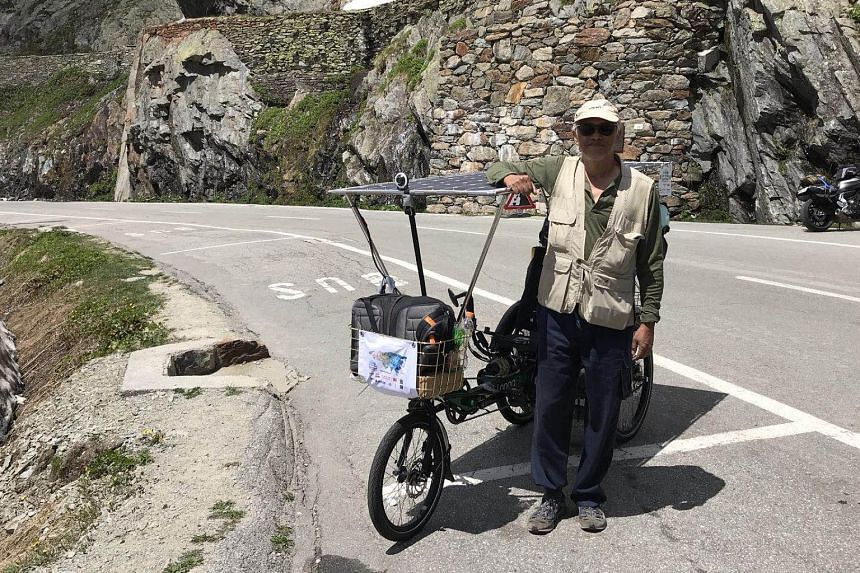 Mr Ching Wai Won's 6,500km journey across 12 countries from Europe to China on the ancient Silk Road was mainly made on an e-bike with solar-charging panels developed by his factory in Shanghai.