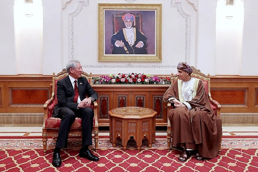 Mr Teo Chee Hean meeting Oman's Deputy Prime Minister for the Council of Ministers Sayyid Fahd Bin Mahmoud Al Said yesterday.