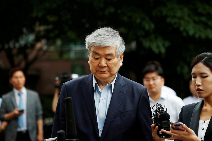 Korean Air chairman Cho Yang-ho arriving at a court in Seoul on July 5, 2018.