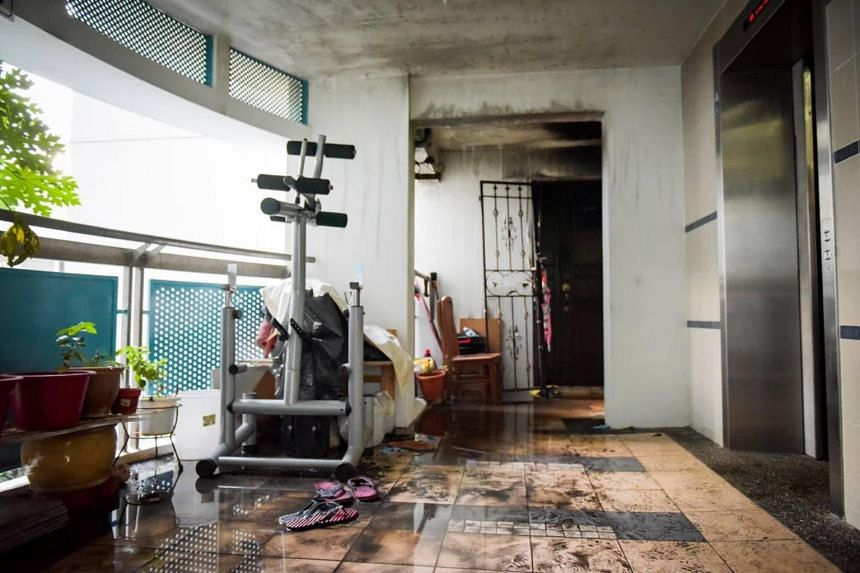The fire broke out in a fourth-floor unit at Block 163B Punggol Central.