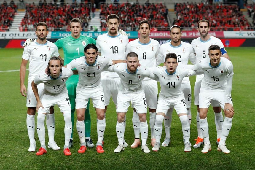 Uruguay's team group photograph before their International Friendly against South Korea at the Seoul World Cup Stadium in Seoul, on Oct 12, 2018.