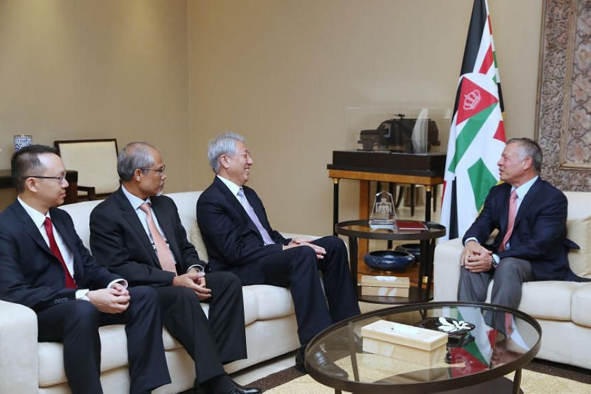 (From left) Senior Parliamentary Secretary (Foreign Affairs and Trade and Industry) Tan Wu Meng, Minister for the Environment and Water Resources Masagos Zulkifli and Deputy Prime Minister Teo Chee Hean had an audience with His Majesty King Abdullah