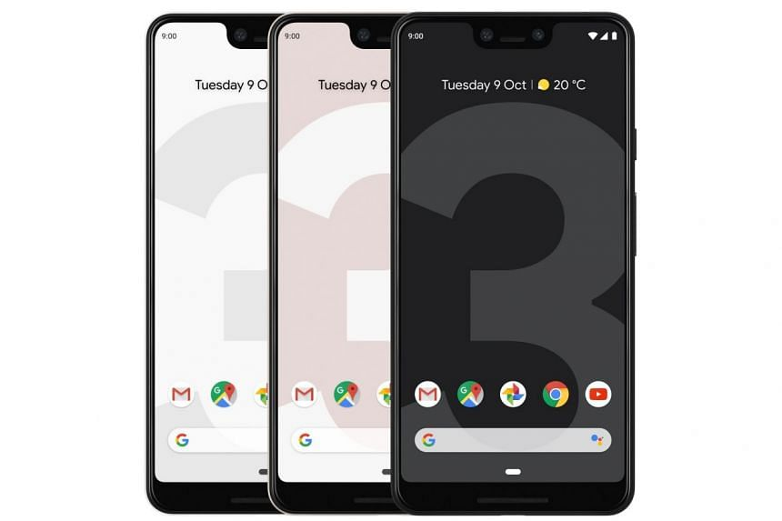 The Pixel 3 smartphones come in three colours - black, white and a pale pink hue that is close to white.