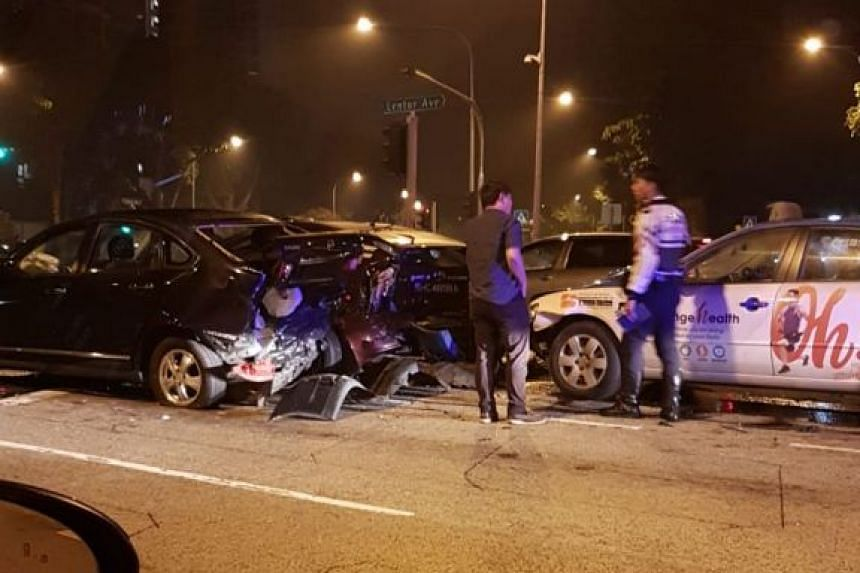 Two taxis and a car were involved in the collision, which occurred at the junction of Yishun Avenue 1 and Lentor Avenue.